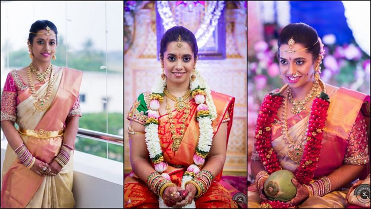 South indian bride wearing kanchipuram silk sarees #southindianbride #southindianwedding #silksaree