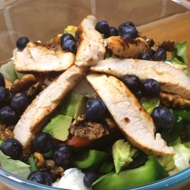 Peri Peri chicken breast salad with walnuts and blueberries! #leanin15 #I❤️Breasts #teamlean2014 #thebodycoach #food #foodie #foodporn #fitfam #fitspo #cleanandlean  Please tag a pal who loves some breasts!  #Guilty