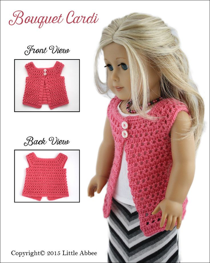 Little Abbee Bouquet Cardi Doll Clothes Pattern 18 inch American Girl Dolls | Pixie Faire