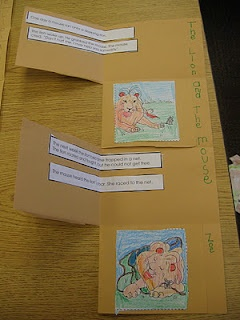 For the story, The Lion and the Mouse, students sequenced events from the story.