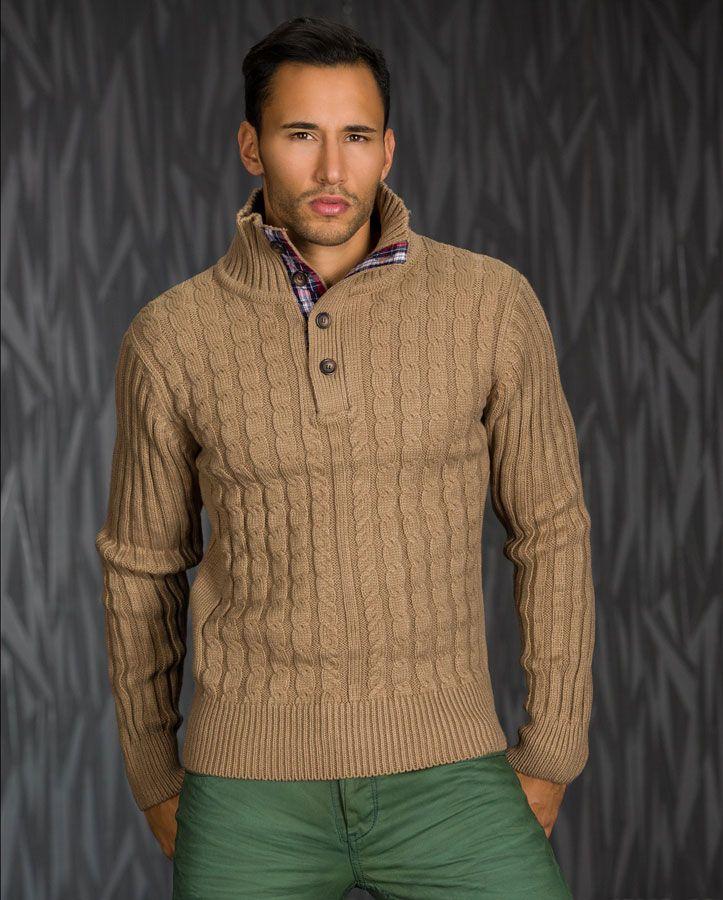 pull homme marron clair col montant en laine et cahemire par pull homme. Black Bedroom Furniture Sets. Home Design Ideas