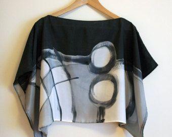 Blusa de seda pintada a mano Top para boda Blusa para por gilbea