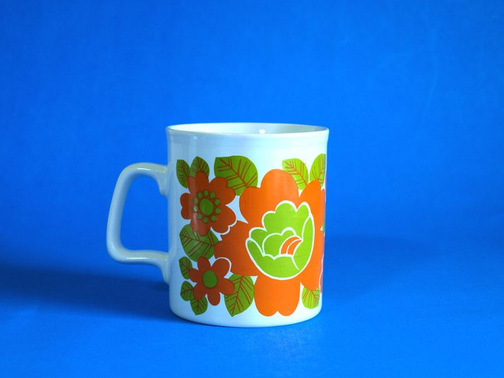 Funky Staffordshire Potteries Orange Green Flower Power Mug - Retro 70s Daisy Poppy Daisy Coffee Cup - Made in England by FunkyKoala on Etsy