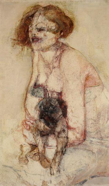 """Renzo Vespignani, """"Linda e Kiss"""", 1959, olio, collezione privata."""