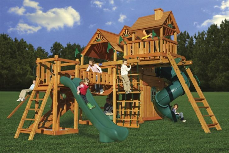 Best Swing Set if Money is No Object  The Hunter's Deluxe is the epitome of coolness.   It has huge 6 foot and 8 foot decks, with a tube slide coming off the large deck.  The two story clubhouse is sweet!  NJ Swingsets - Playnation Hunter's Deluxe Swing Set, $9,999.00 (http://njswingsets.com/products/playnation-hunters-deluxe-wooden-swing-set)