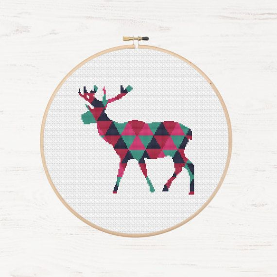Buck Cross Stitch Pattern Deer Polygon Pattern Mosaic Instant Download PDF Modern Cross Stitch Stag Animal Collage Geometric Embroidery DIY - pinned by pin4etsy.com