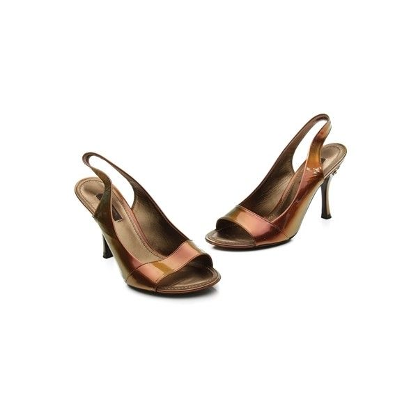 Pre-Owned Louis Vuitton Multicolor Patent Leather Pivoine Slingback... ($244) ❤ liked on Polyvore featuring shoes, pumps, multicolor metallic, patent leather slingback pumps, patent leather shoes, metallic pumps, multi color shoes and metallic shoes