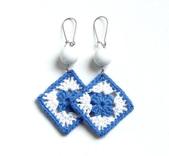 Denim blue and white crochet square earrings  crochet by zolayka, $11.50