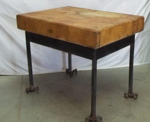 Block wood table top steel metal legs industrial age kitchen island