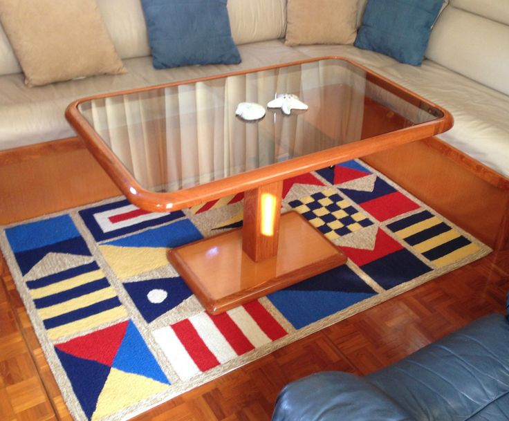 Love it! Perfect rug for on board a boat (or in a beach house kitchen!) durable and cleans up with a garden hose and a little soap. http://www.caronsbeachhouse.com/signal-flags-42-x-66-area-rug/