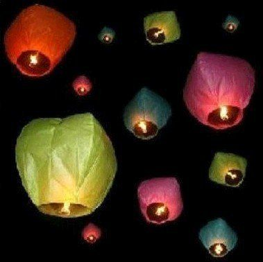 "50pcs Assorted Color Fly Sky Wish lanterns Mini Hot Air Balloon For Birthday Wedding Party Celebration Festivals by MamBate. $51.99. Package Included 50x Small size Chinese paper lanterns( Red / Green / Blue / Pink / White).10 lanterns each color. 50 x Special Fuels. Flight height: up to 1000m (approx). Duration: 10-12 min (approx). Color: Red / Green / Blue / Pink / White. 10 lanterns each color.. Size when not inflatable: base diameter: about 32cm (12.6""), Height: about 8..."