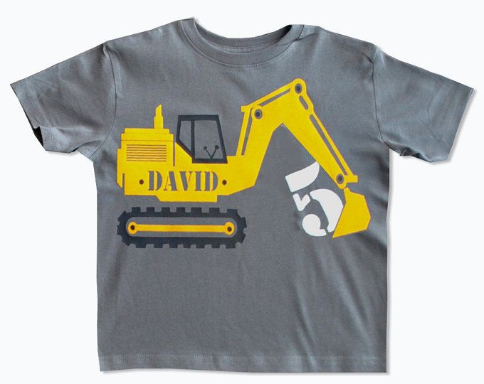 Personalized Tshirt Excavator Birthday Shirt Construction Birthday Shirt