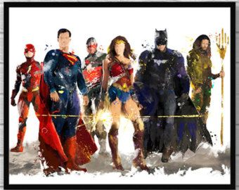 Justicia Liga acuarela imprimir Batman Superman Wonder mujer Flash Aquaman Cyborg película cartel superhéroe casa pared arte Kids Room Decor - 626