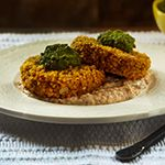 Curried Millet Cakes with Red Pepper Coriander Sauce