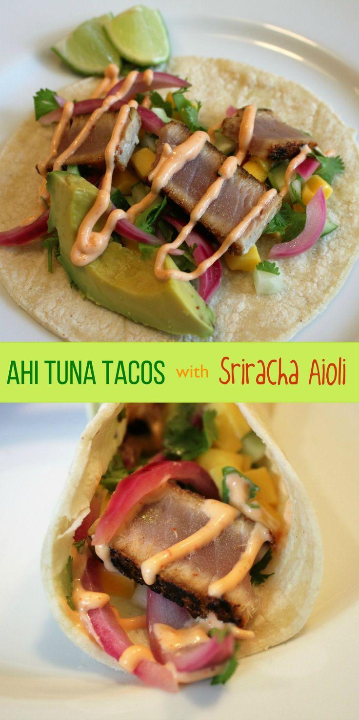Ahi Tuna Tacos with Sriracha Aioli