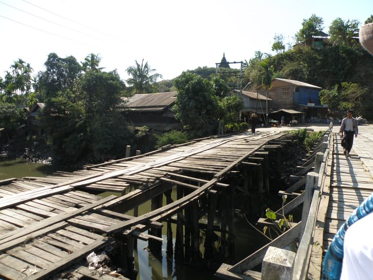 Probably a bit dangerous to drive on, bridge outside a village in the Chin state, Myanmar