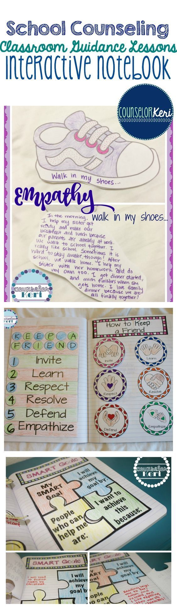 A whole-year bundle of elementary classroom guidance lessons including interactive notebook! from Counselor Keri