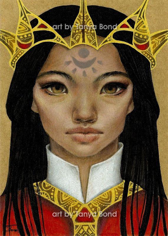 Narangerel - originele mixed media schilderij illustratie kunst door Tanya Bond - pop surrealisme portret Mongoolse prinses zonlicht