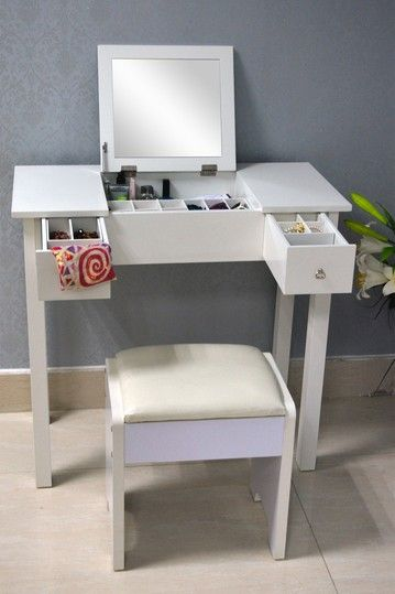 White Wooden Vanity Dressing Table by Wholesale Interiors on @HauteLook