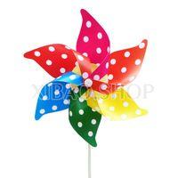 10 peças/lote pvc 22 * 28 cm seis folha jardim dot brinquedo de plástico decoração de casamento moinho de vento para presente das crianças por atacado grátis frete