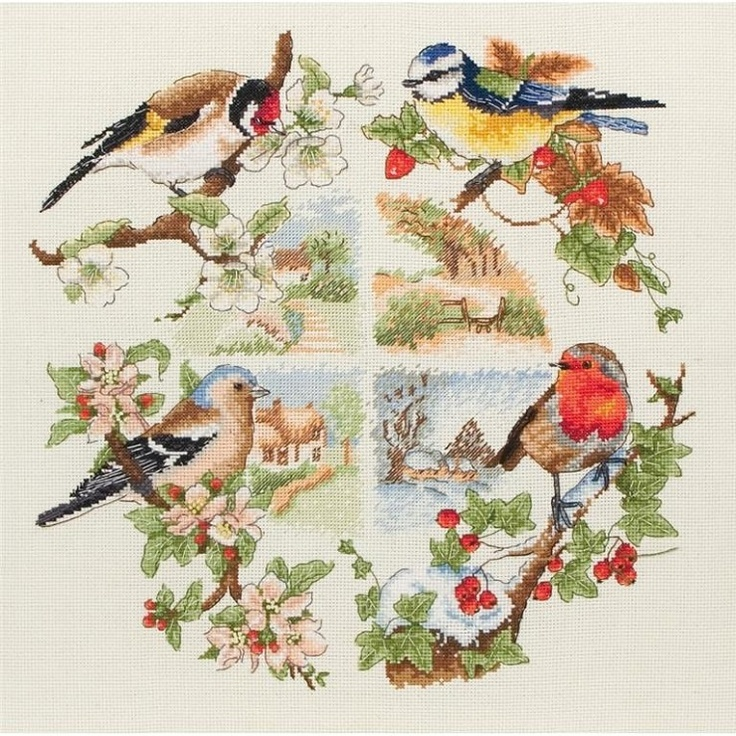 cross stitch birds, branches, and houses