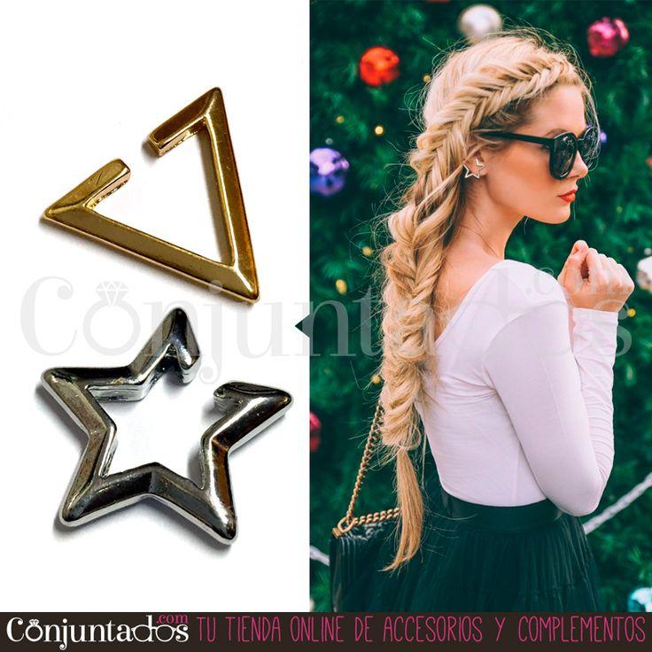 No te taladres la oreja sin necesidad. Date el puntito rebelde con este par de Ear cuffs (estrella plateada y triángulo dorado), sin tener que agujerearte la oreja ★ Precio: 4,95 € en http://www.conjuntados.com/es/pendientes/pendientes-cortos/ear-cuffs-de-estrella-plateada-y-triangulo-dorado-pack-de-dos.html ★ #novedades #pendientes #earrings #earcuffs #star #triangle #conjuntados #conjuntada #joyitas #jewelry #bisutería #bijoux #accesorios #complementos #outfit #moda #fashion #estilo #style