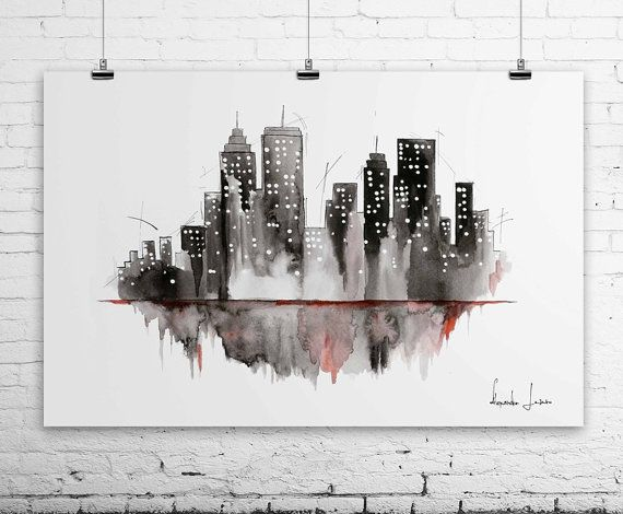 New York City Art Print  Cityscape Watercolor by WatercolorPrint, $30.00