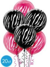 Go wild at the party with our Zebra Print Balloons! Black and Pink Zebra Print Balloons feature a white zebra print pattern on pink and black backgrounds. Use alone as fun party decorations or mix and match with foil balloons to create a balloon bouquet. Package includes 20 helium quality latex Zebra Print Balloons, each measuring 12in when inflated.