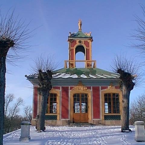 Part of Kina Slott, Drottningholm, in snow