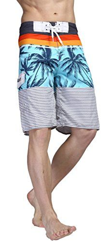 Alant Mens Comfort Hybrid Cocount Palm Swimming Boardshorts Blue 30 ** Find similar swimwear by clicking the image