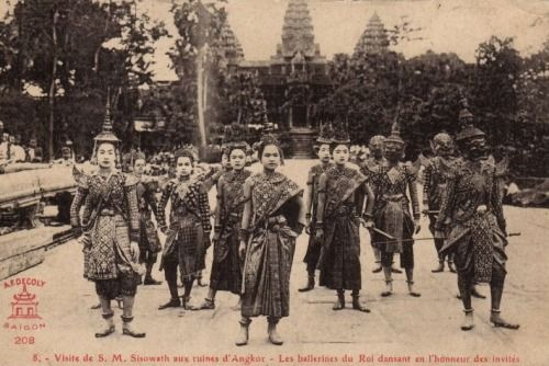visit to Angkor Wat by H.M. King Sisowath - The dancers of the King dance in honor of the guests.This image was taken during the time of King Sisowath of Cambodia (1840-1927) as noted in the caption.