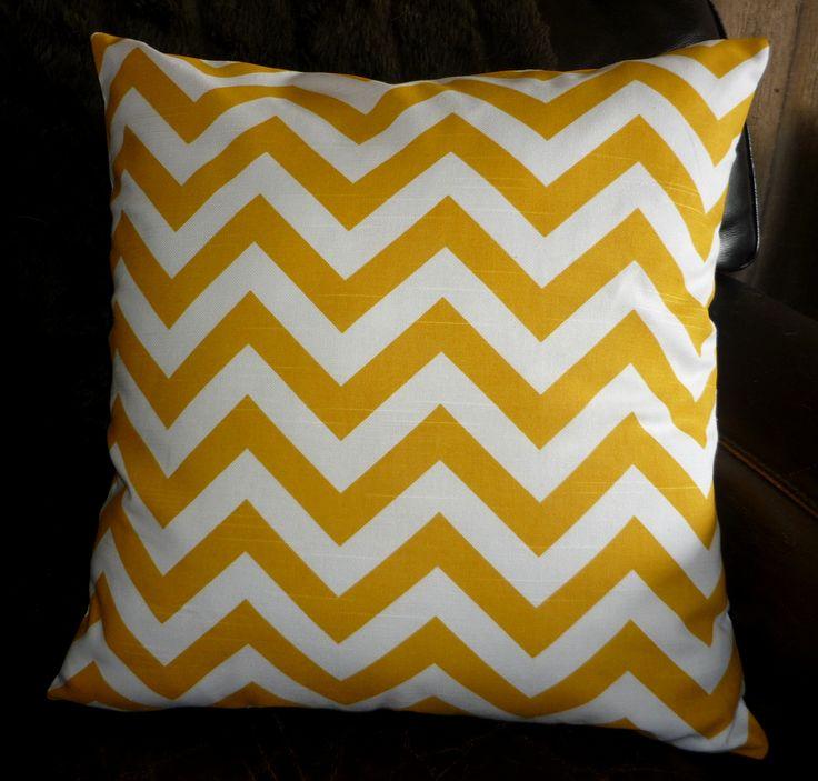 Yellow & white chevron cushion cover