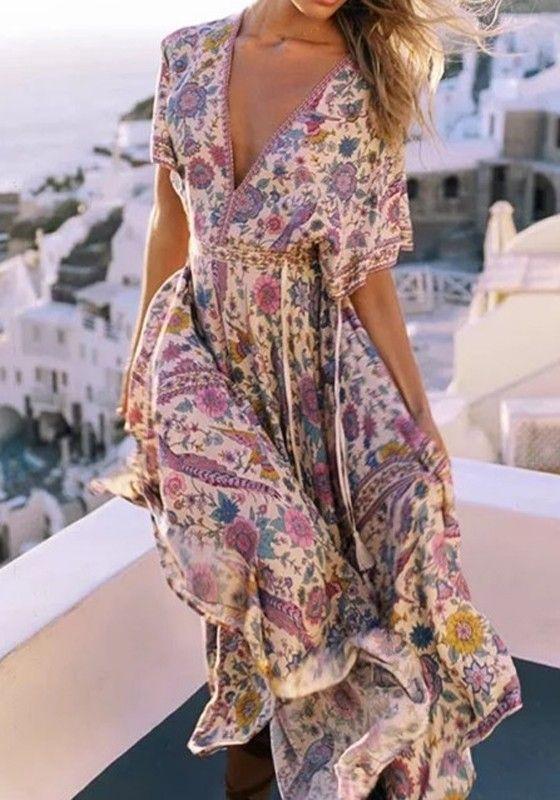 10cb34856ab Robe longue boho imprimé à fleurs v-cou dos nu manches courtes mode gipsy  violet