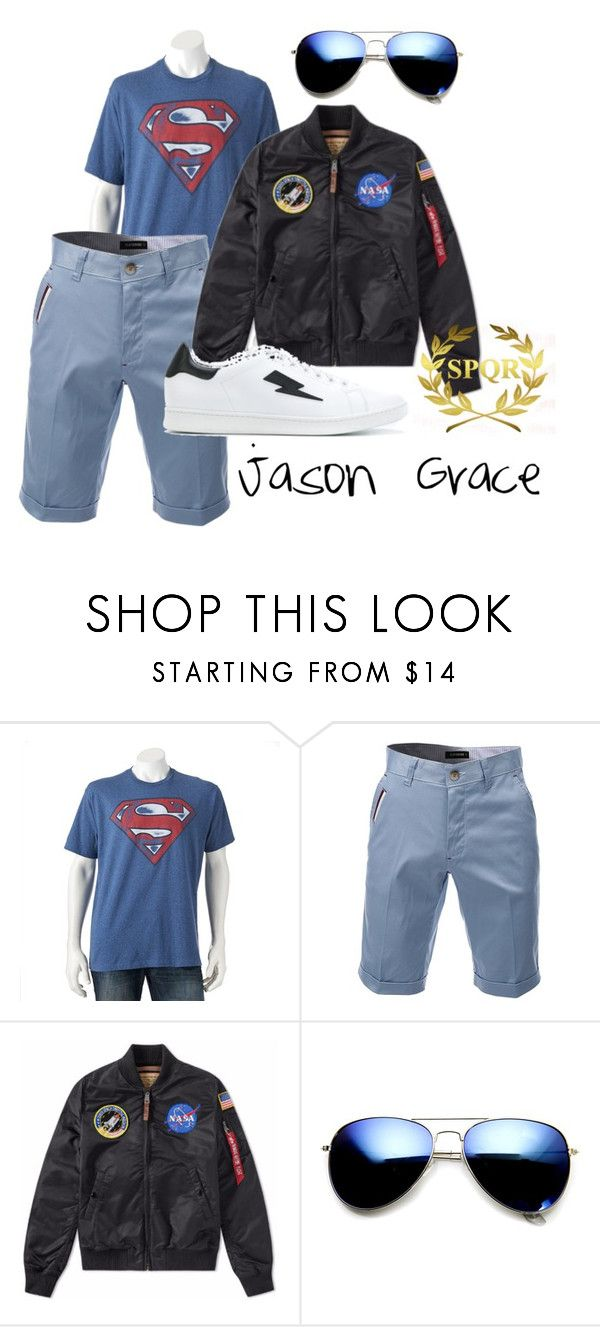 Jason Grace by grahamzn on Polyvore featuring Alpha Industries, Neil Barrett, ZeroUV, men's fashion, menswear and percyjackson