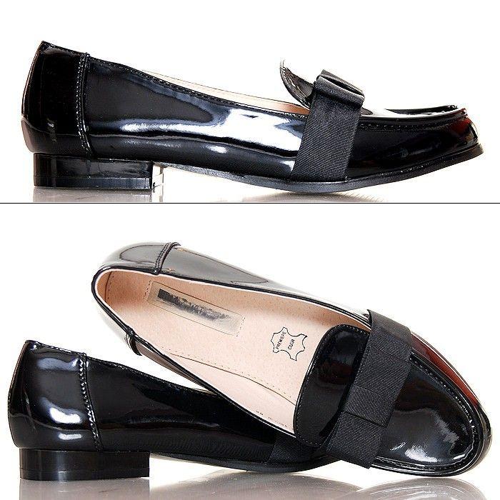 Mokasynki - Lakierowane Czarne z Czarną Kokardą - www.BUU.pl #shoes #moda