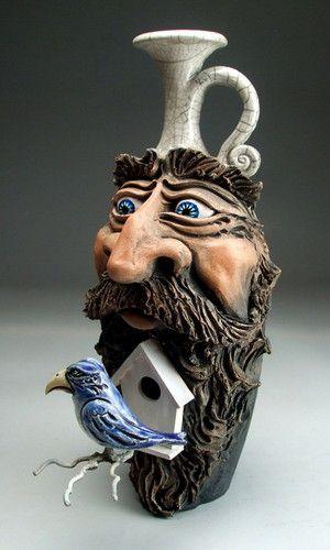 Blue Bird House Beard Face JUG - Pottery - Raku - Folk ART Sculpture BY Mitchell Grafton