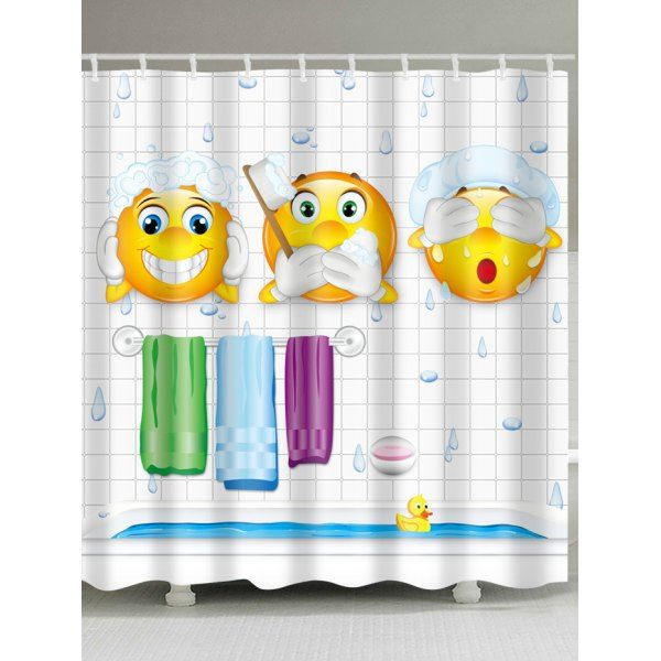 Emoji Print Waterproof Polyester Bath Curtain W59 Inch L71
