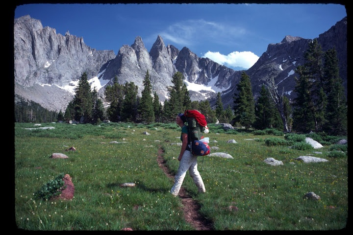 Hiking into the Cirque of the Towers, Shark's Nose in the background, Wind River Range - memorable ascent of the Direct SW Face in 2004.