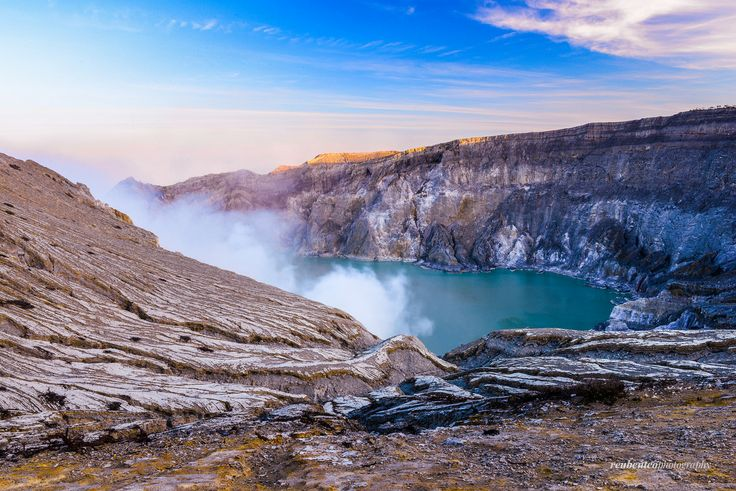 Turquoise Crater Lake, the Ijen Crater (Kawah Ijen) in East Java, Indonesia