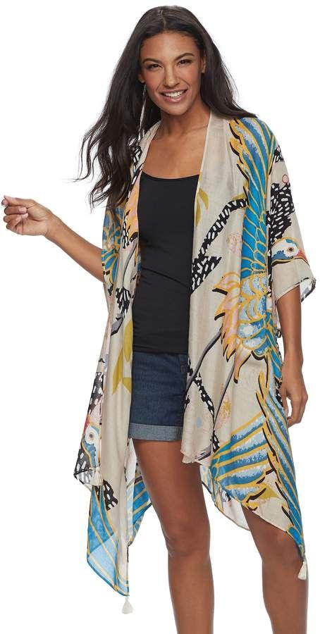 fbad1e9cf1e9d Sonoma Goods For Life SONOMA Goods for Life Tropical Parrot Print Oversized  Kimono