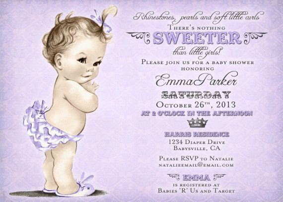 vintage baby shower invitation for girl antique purple diy printable
