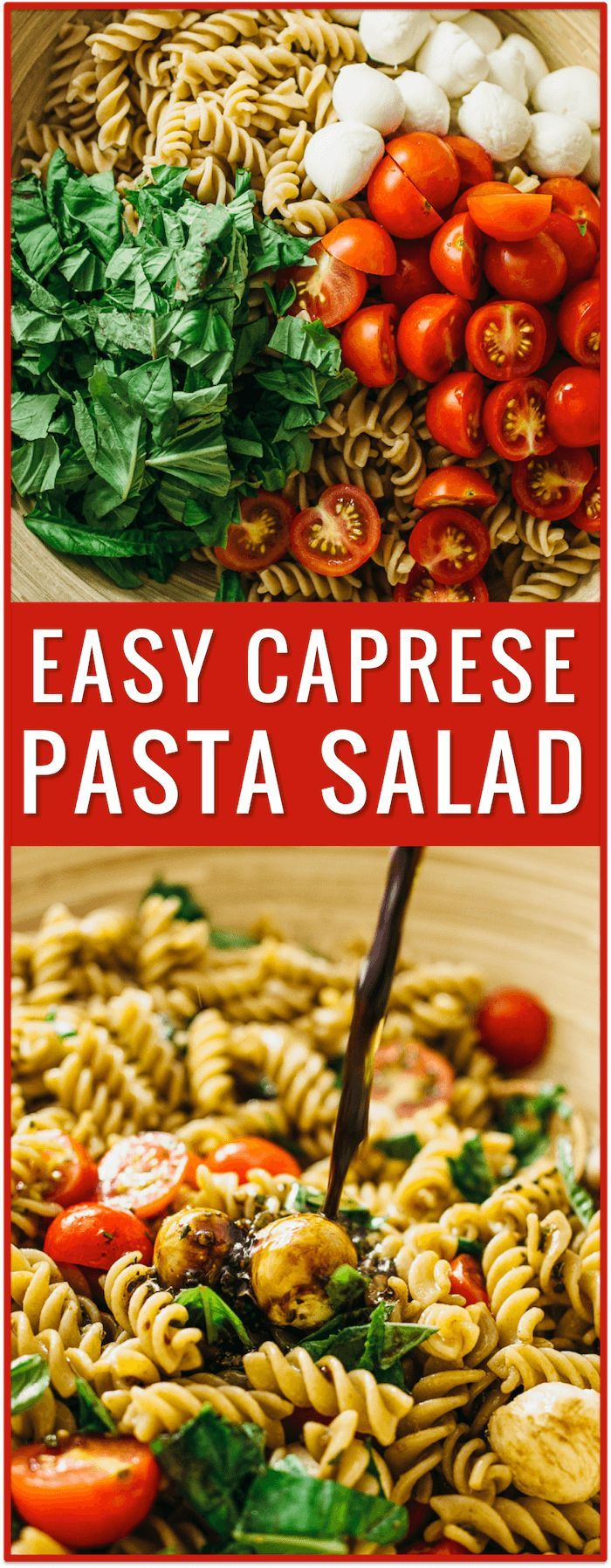 easy caprese pasta salad recipe, caprese salad, caprese appetizer, cherry tomatoes, grape tomatoes, chopped caprese salad, ingredients, tomato, mozzarella cheese, fresh basil, lunch, dinner, side dish, idea via @savory_tooth