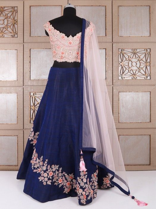 Blue And Pink Silk Lehenga Choli