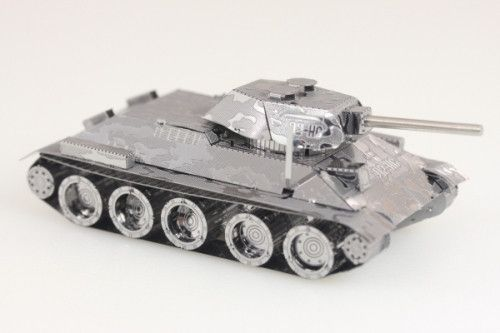 The Fascinations Metal Works T 34 Tank comes as two laser etched stainless steel sheets. The individual parts can be snipped from the sheets and lock together with tiny tabs and slots.Moderate Assembl