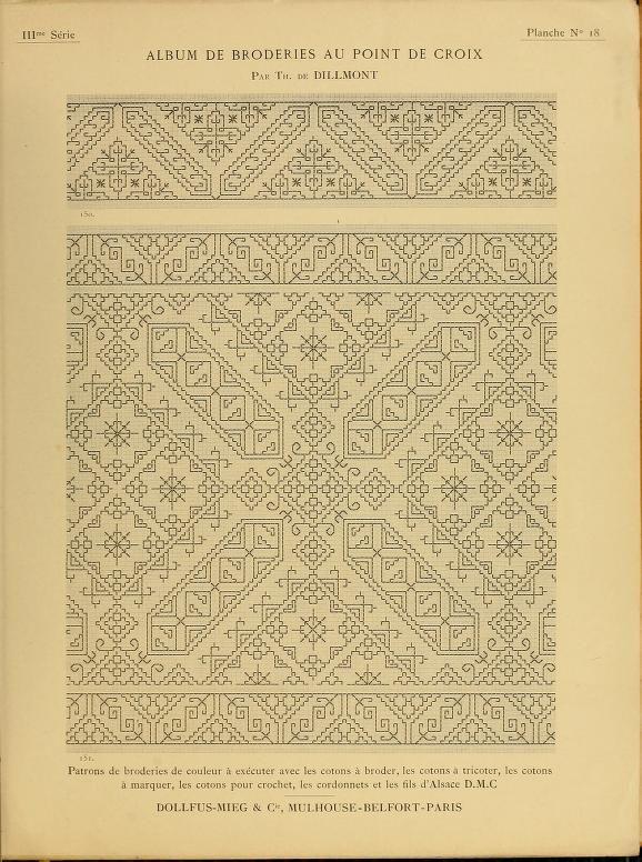 Album de broderies au point de croix - Dillmont - 1885 - found via Archive.org - texts