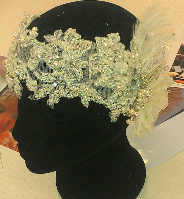 Elizabeth de Varga custom made hand beaded lace and feather headpiece swarovski crystals and pearls www.devarga.com.au