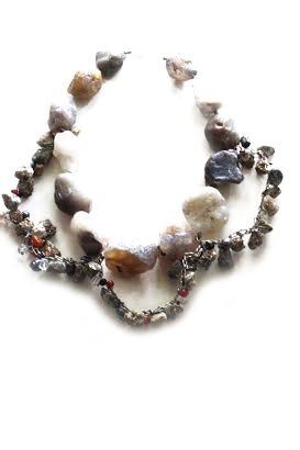 Wraparound Necklace: Agate Chunks, Iron Pyrite, Glass Beads, Fresh Water Pearls, Sterling Silver Clasp