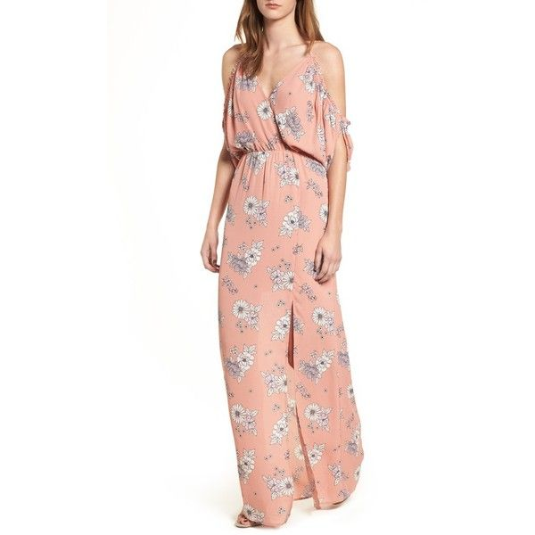 Women S Dee Elly Cold Shoulder Maxi Dress 42 Liked On Polyvore Featuring Dresses Blush Floral Whi Cold Shoulder Maxi Dress Coral Maxi Dresses Maxi Dress