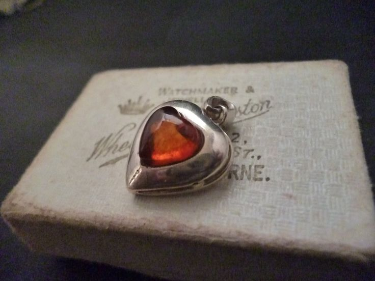 """Vintage sterling silver and amber heart pendant - 925 - amber - Heart - 1"""" x 0.75"""" by MalvernJewellery on Etsy"""