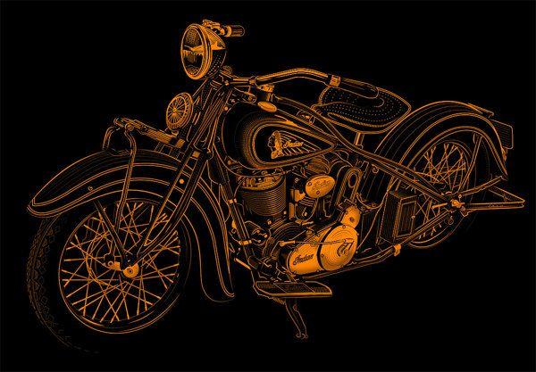 Golden Indian Motorcycle 1934 by David Cran, via Behance